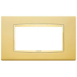 Ramka Vimar Eikon Chrome Classic, satynowe złoto, metal rafinowany, 4M