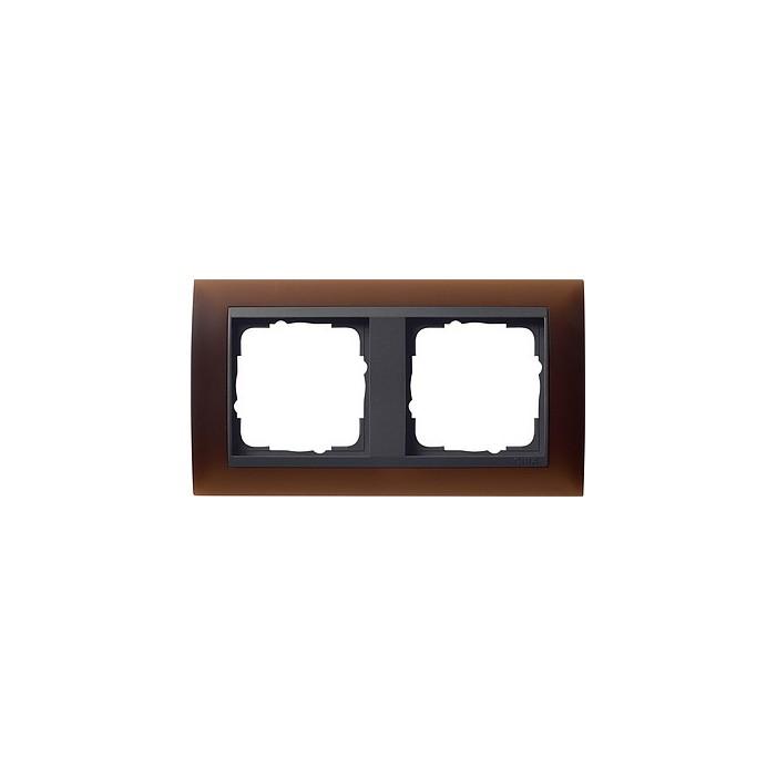 Ramka podwójna (do antracytowych środków), Gira Event Opaque mat ciemnobrązowy