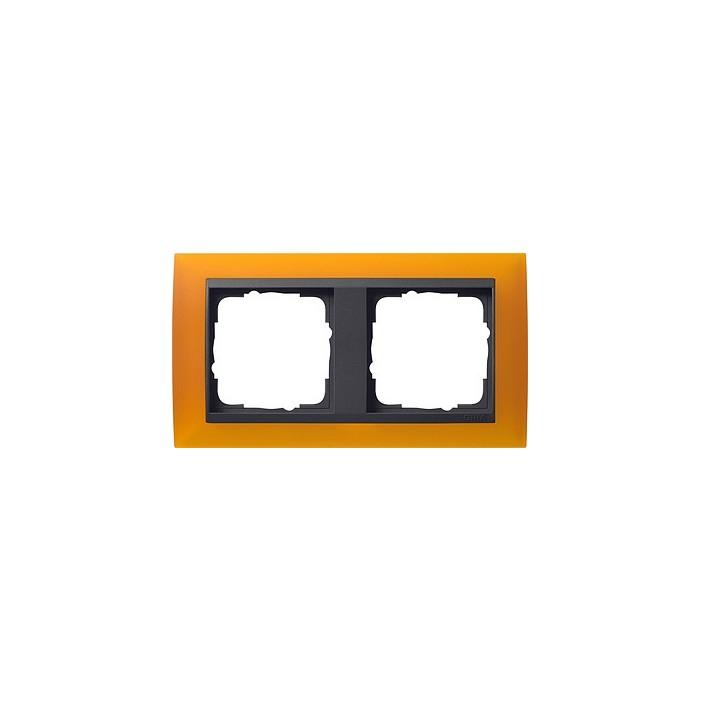 Ramka podwójna (do antracytowych środków), Gira Event Opaque mat. bursztynowy