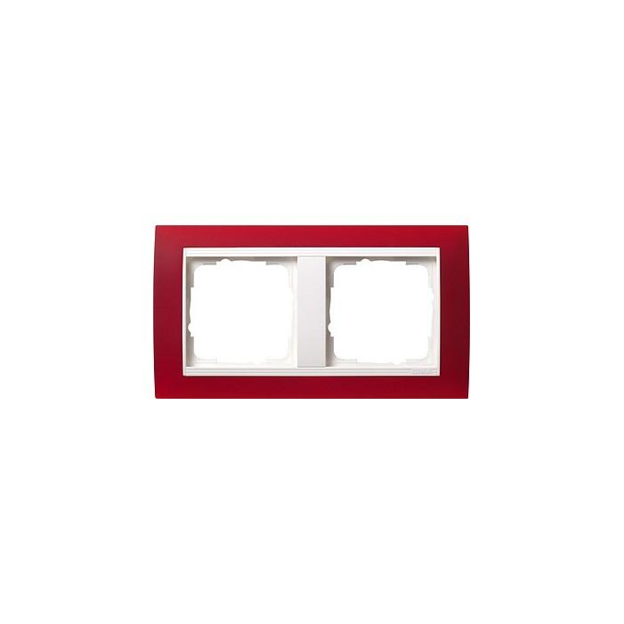 Ramka podwójna (do białych, matowych środków), Gira Event Opaque czerwony