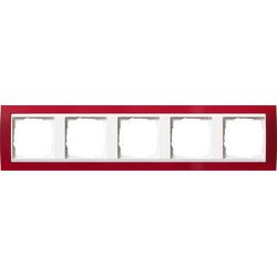 Ramka pięciokrotna (do białych, matowych środków), Gira Event Opaque czerwony