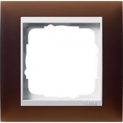 Ramka pojedyncza (do białych środków), Gira Event Opaque mat ciemnobrązowy