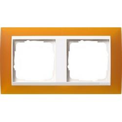 Ramka podwójna (do białych środków), Gira Event Opaque mat. bursztynowy