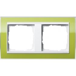 Ramka podwójna (do białych środków) Gira Event Clear zielony