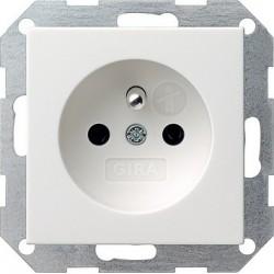 Gniazdo z bolcem i zabezp. białe matowe 16A System 55 GIRA