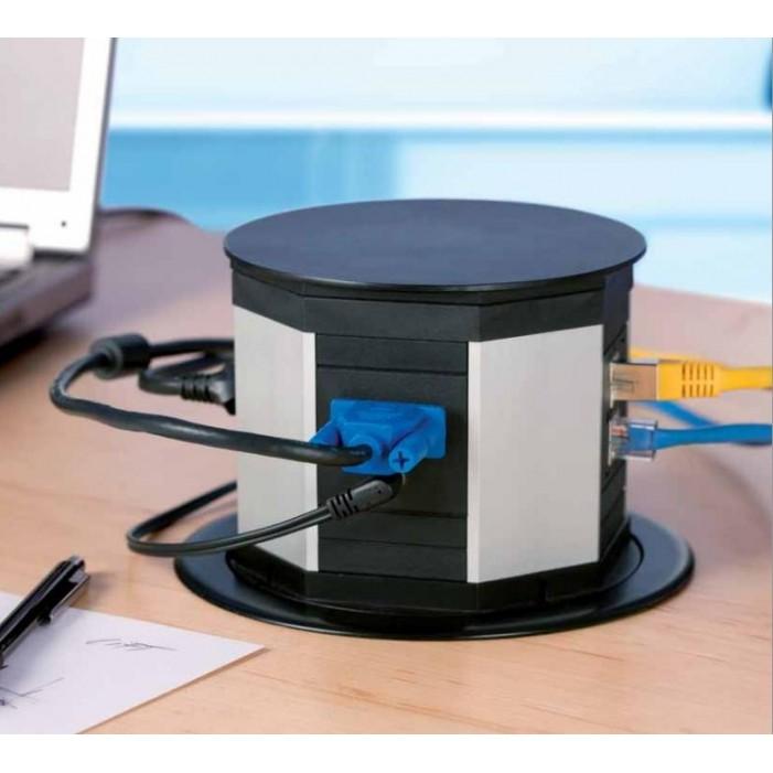 Bachmann LIFT 1x 230V + 2x RJ45 + HDMI + VGA + Audio Mini Jack, czarny