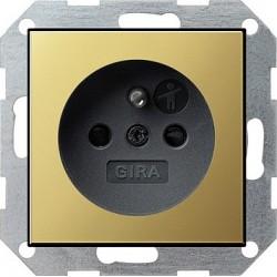 Gniazdo z bolcem i zabezp. mosiądz/czarny 16A System 55 GIRA