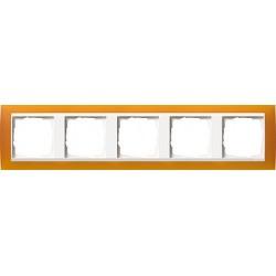 Ramka pięciokrotna (do białych środków), Gira Event Opaque mat. bursztynowy