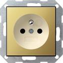 Gniazdo z bolcem i zabezp. mosiądz/kremowy 16A System 55 GIRA