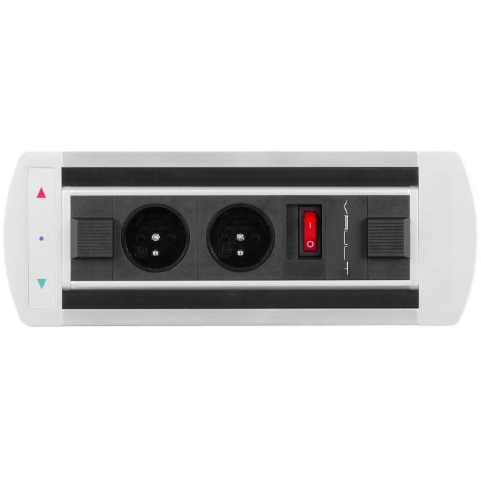 Mediaport obrotowy, 2 gniazda 230V i włącznik, VAULT Rolbox