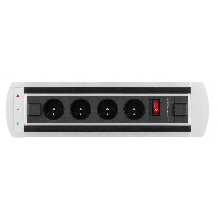 Mediaport obrotowy, 4 gniazda 230V + wyłącznik, VAULT Rolbox