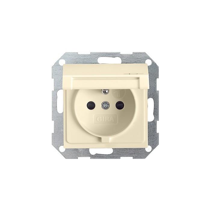 Gniazdo z bolcem i klapką (IP44) i zabezp. kremowe 16A System 55 GIRA