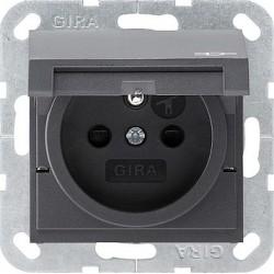 Gniazdo z bolcem i klapką (IP44) i zabezp. antracytowe 16A System 55 GIRA