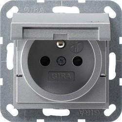 Gniazdo z bolcem i klapką (IP44) i zabezp. alu 16A System 55 GIRA
