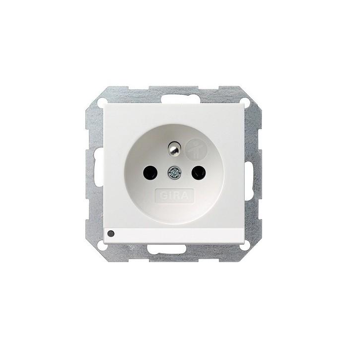 Gniazdo z bolcem podświetlane LED z ochr.dz biały GIRA