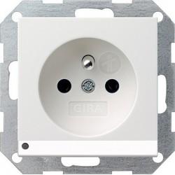 Gniazdo z bolcem podświetlane LED z ochr.dz biały matowy GIRA