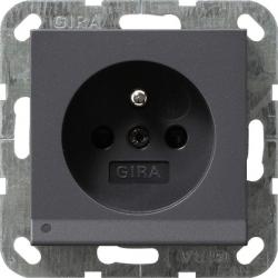 Gniazdo z bolcem podświetlane LED z ochr.dz antracytowy GIRA